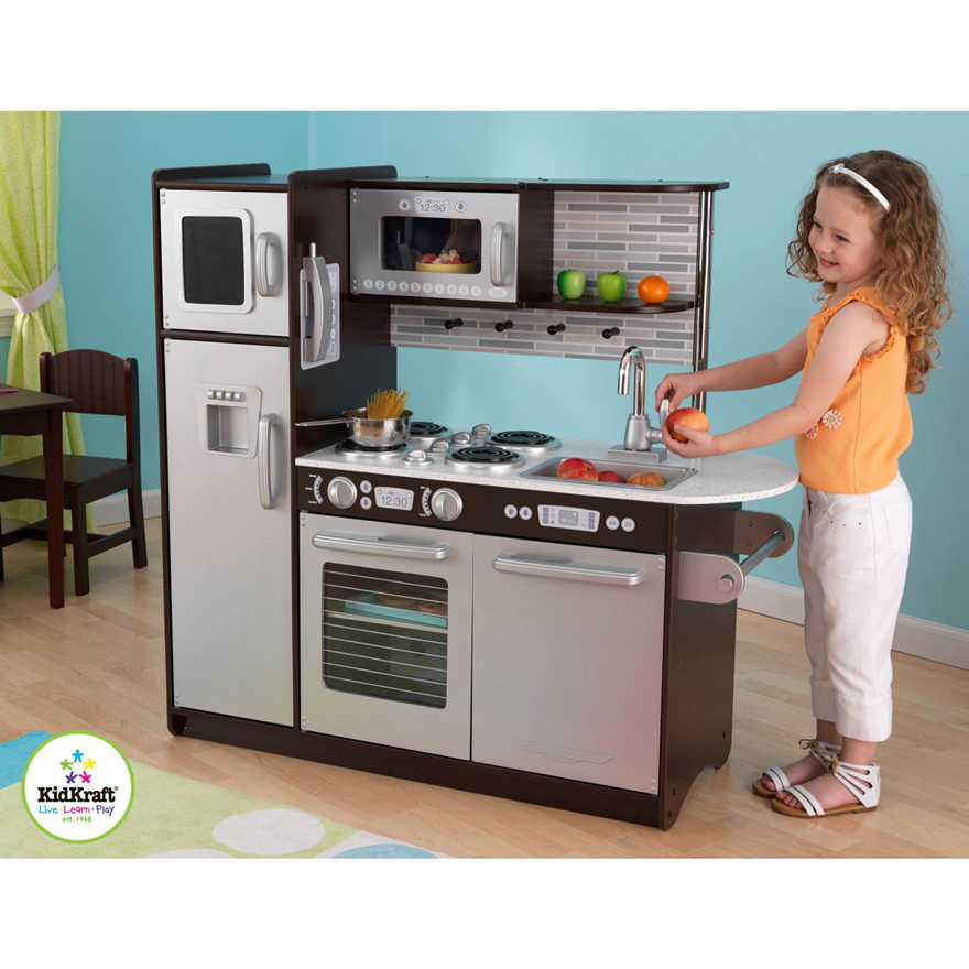 Quality Toys Kidkraft Uptown Espresso Wooden Play Kitchen New 53260 Usa Supplier Cheap E